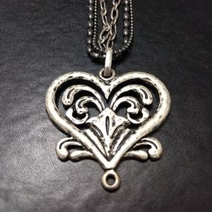 JS silver tone layered heart long necklace
